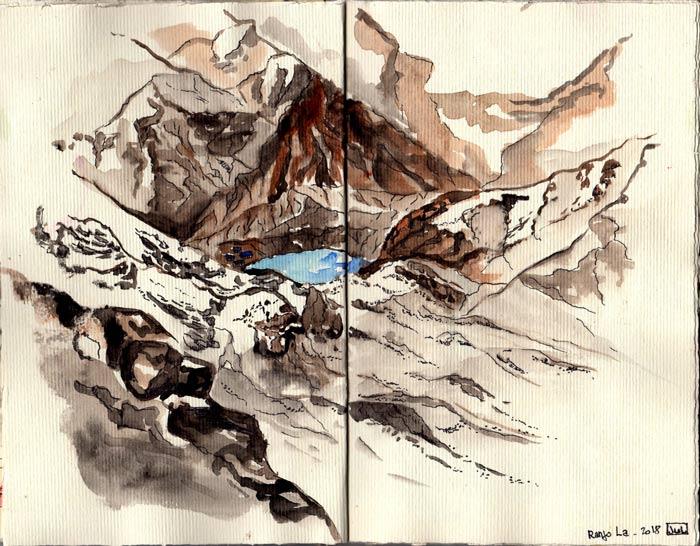Juliette Seban – Carnet de croquis – Népal Renjo La