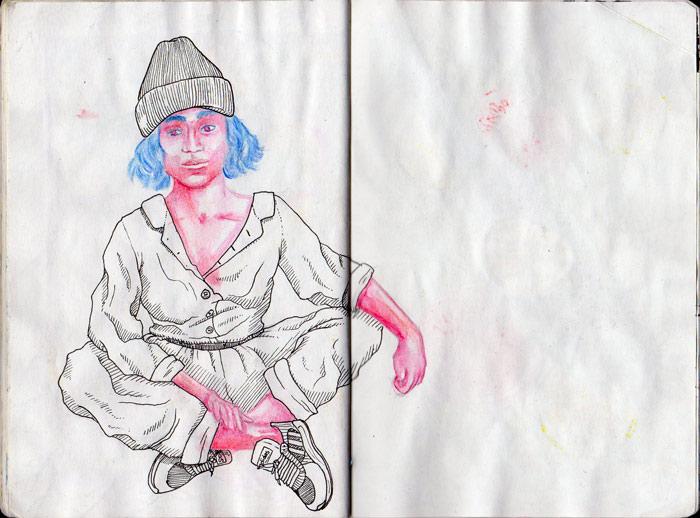 Juliette Seban – Carnet de croquis – Portrait au bonnet