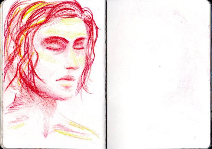 Juliette Seban – Carnet de croquis – Portrait aux crayons