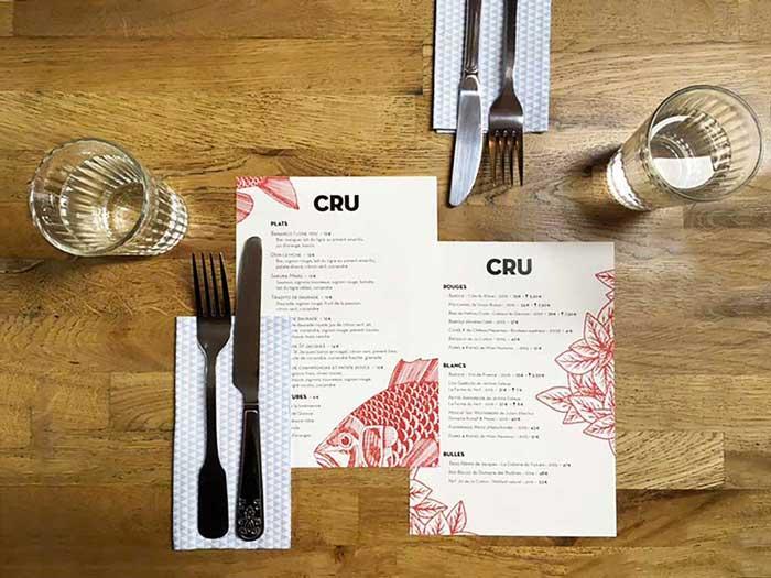 Juliette Seban – Cru restaurant – branding – menu