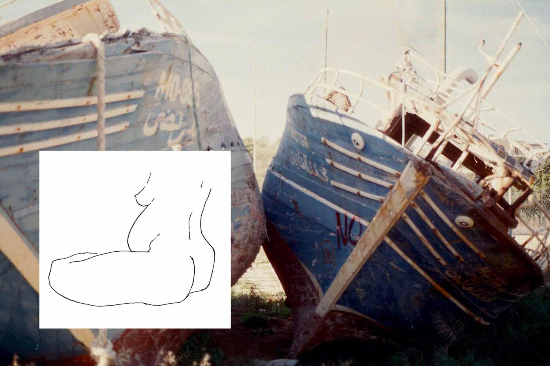 Juliette Seban – lampedusa – dessins et photos – Femme nue
