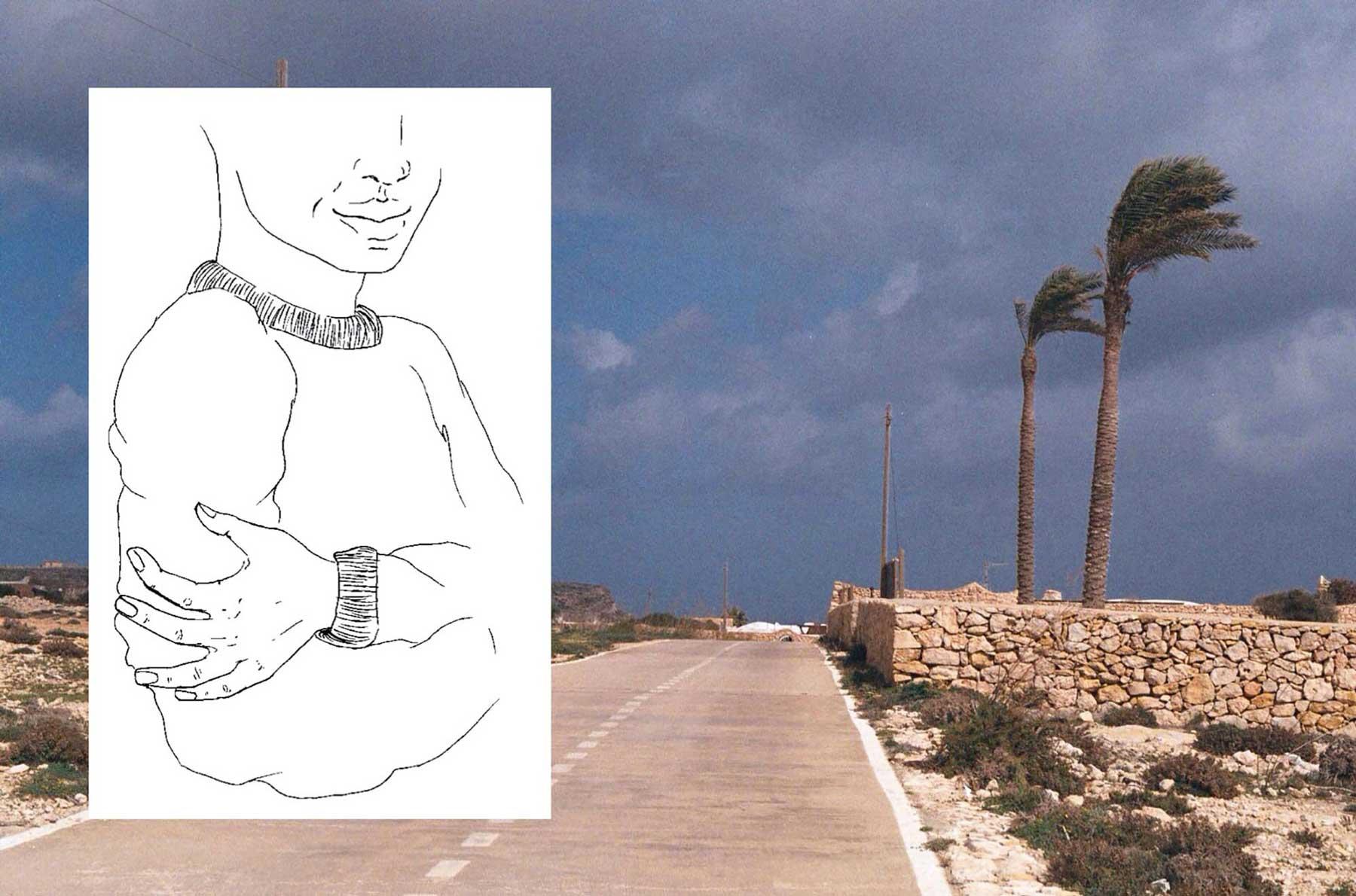 Juliette Seban – lampedusa – dessins et photos – Tempete