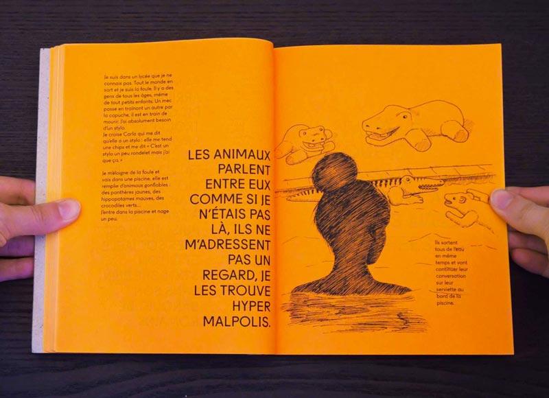Juliette Seban – Il change sa tête et met un masque – Illustration livre des rêves – la piscine