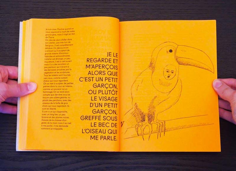 Juliette Seban – Il change sa tête et met un masque – Illustration livre des rêves – le toucan