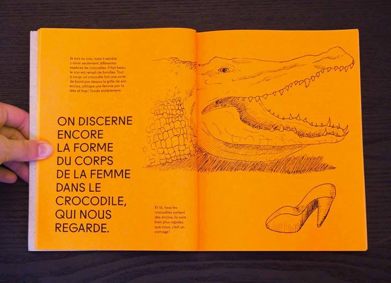 Juliette Seban – Il change sa tête et met un masque – Illustration livre des rêves – le crocodile