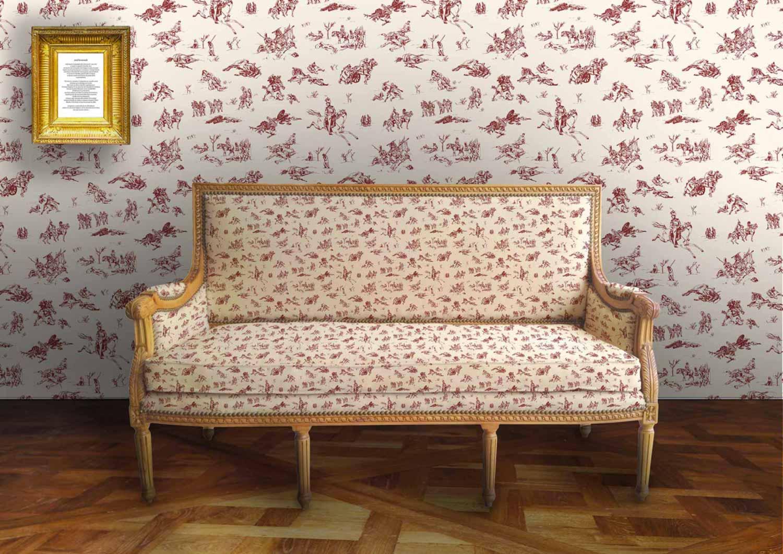 Juliette Seban – Illustration Toile de Jouy – pan rouge – dessin – canapé