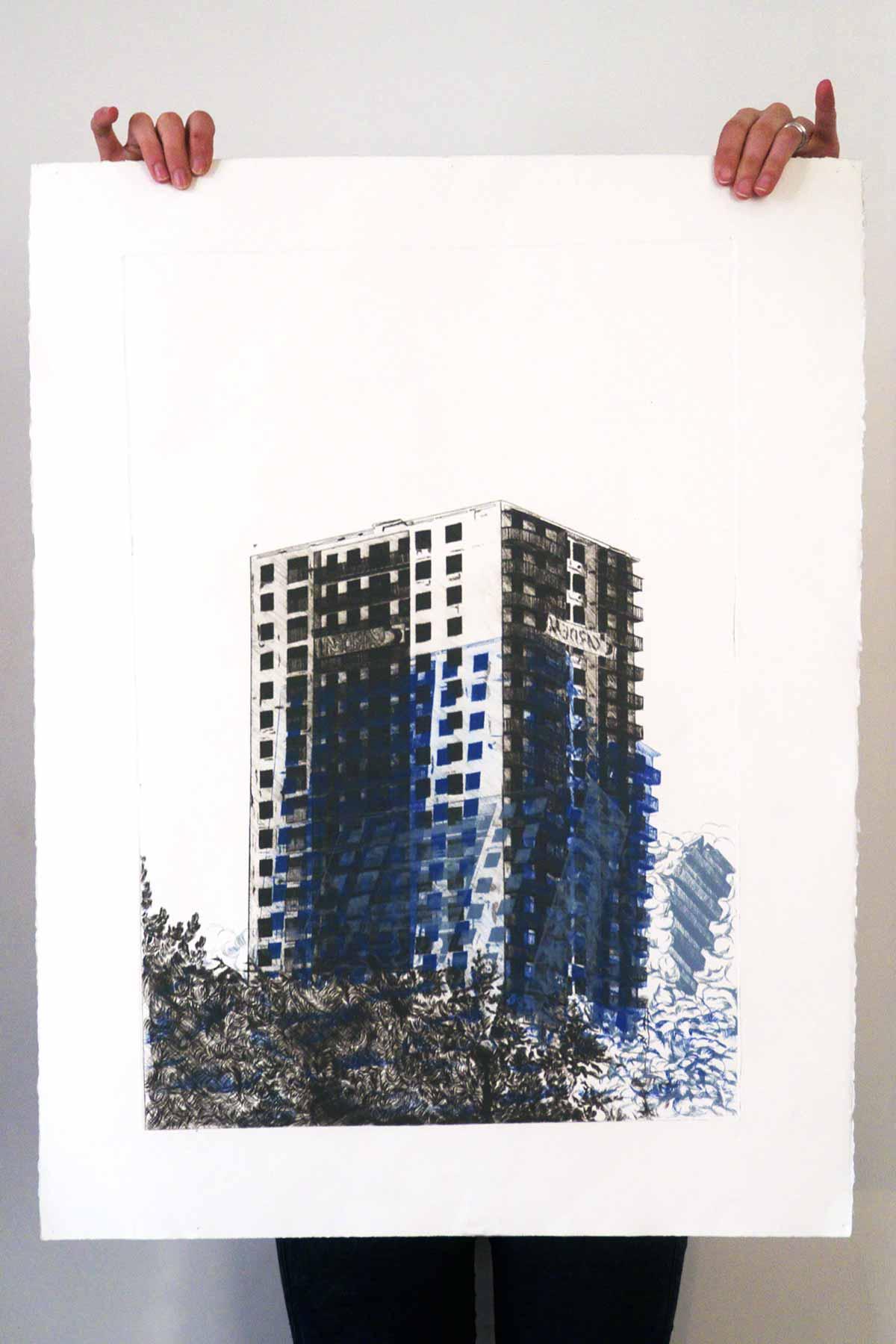 Juliette Seban – Gravures – vanités – bleue – debout