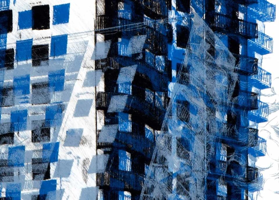 Juliette Seban – Chutes – gravure bleue