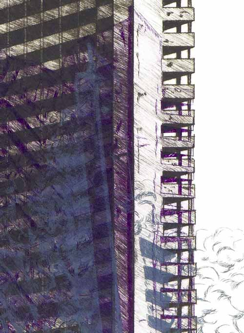 Juliette Seban – Gravures – vanités – violette détail