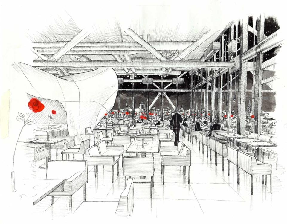 Juliette Seban – illustration – le Georges restaurant – Centre Georges Pompidou, Beaubourg, Paris