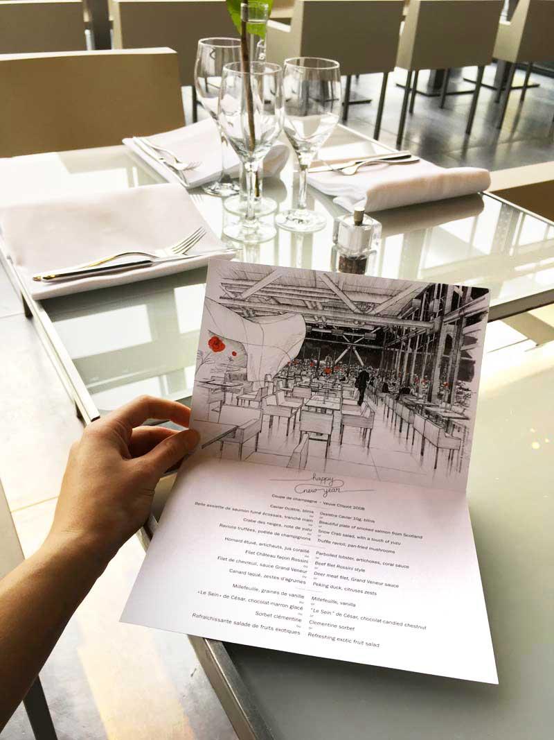 Juliette Seban – illustration – le Georges restaurant – Musée Georges Pompidou, Beaubourg, Paris – menu ouvert