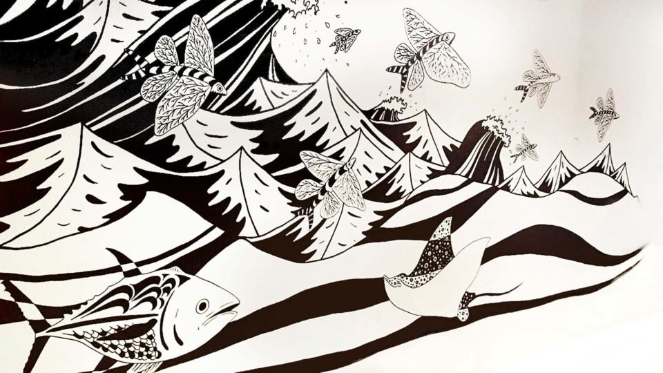 Juliette Seban – Galerie Lafayette – Cru restaurant – Illustration – Mural - Fresque peinte